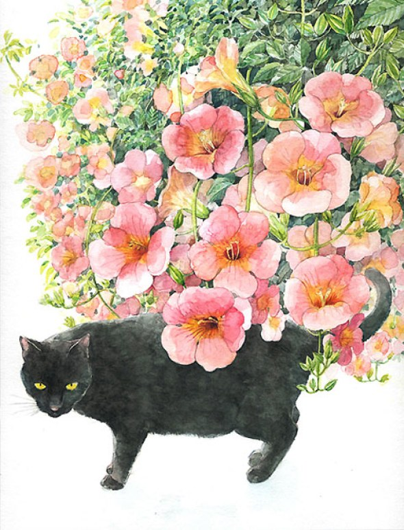 Midori Yamada1-black cat with pink flowers