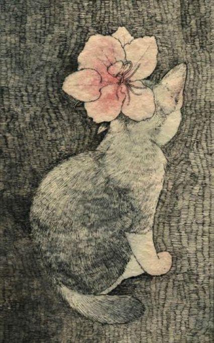 Midori Yamada18-Grey cat with pink flower