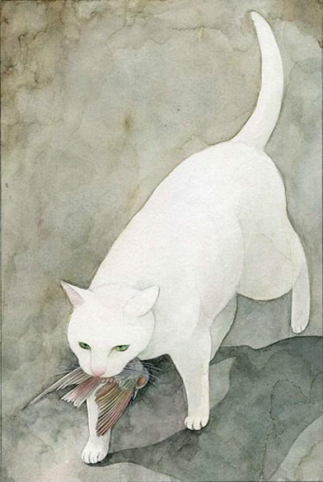 Midori Yamada24-White cat with bird
