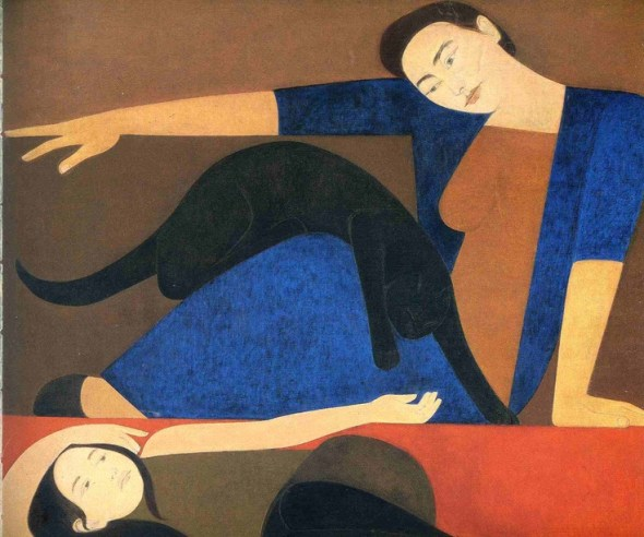 The Blue Robe etching and aquatint of woman with black cat, 1971Will Barnet