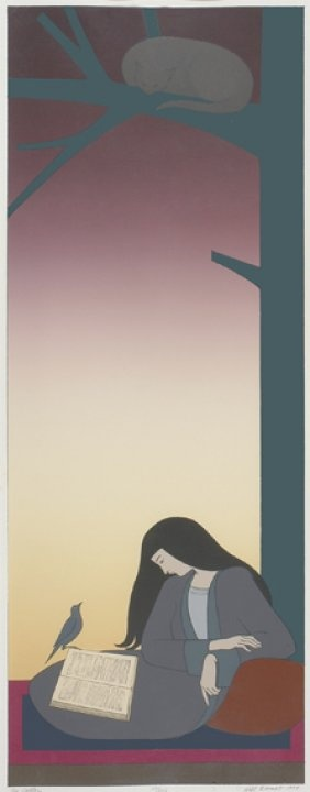 The caller (cat in tree) lithograph, 1977 Will Barnet