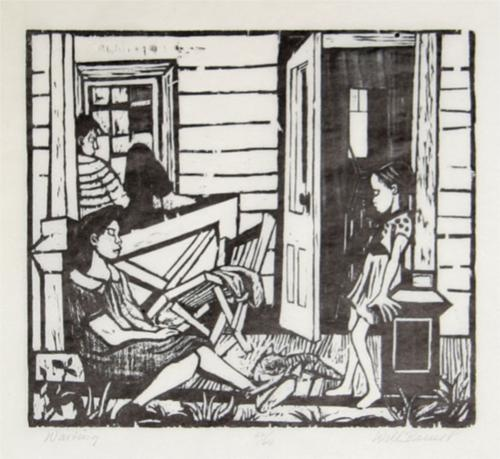 Waiting woodcut, Will Barnet