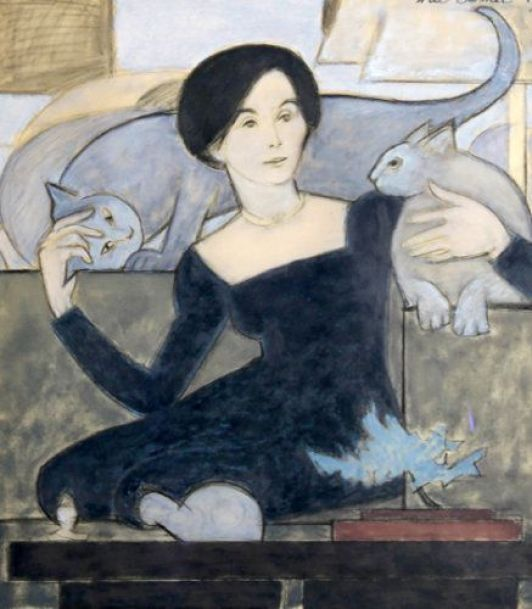 Will Barnet - Cat Lover, 1987. Gouache on Vellum.