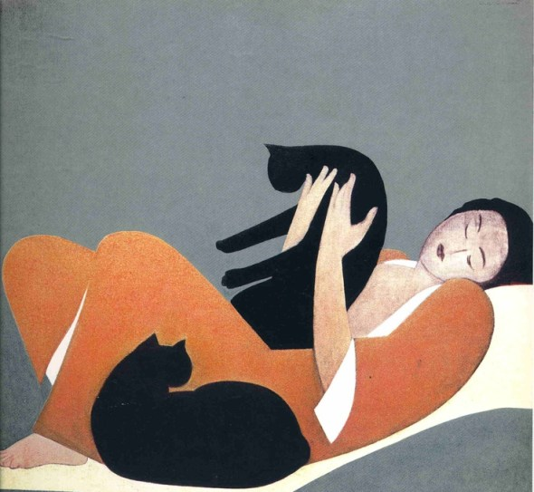 Woman and Two Cats lithograph, 1969 Will Barnet