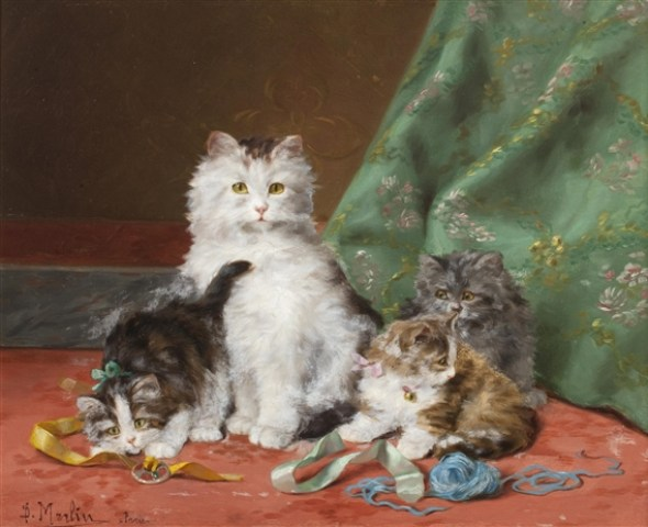 Cat and her Kittens Playing with Ribbons - Daniel Merlin