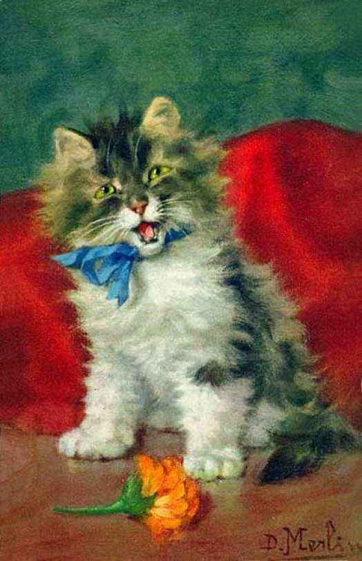 Kitten with Blue Ribbon, Daniel Merlin