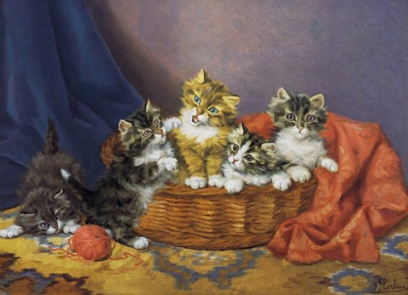 Kittens Playing with String Daniel Merlin private collection