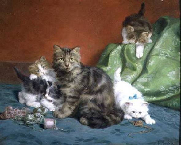 Kittens Playing with Thread Daniel Merlin Private Collection