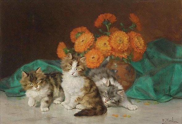 Three Kittens and Flowers, Daniel Merlin