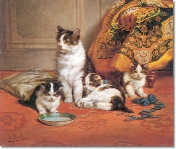 Three Kittens and their Mother Daniel Merlin private collection