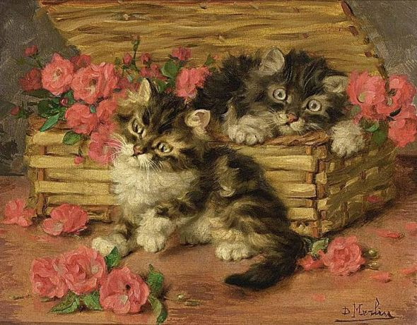Two Kittens in a Basket, Daniel Merlin
