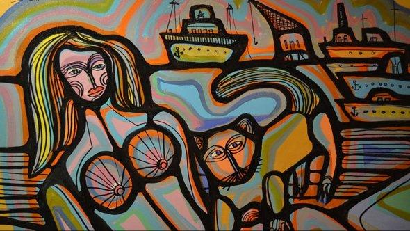 Woman, Cat, Boats Carlos Vilaro