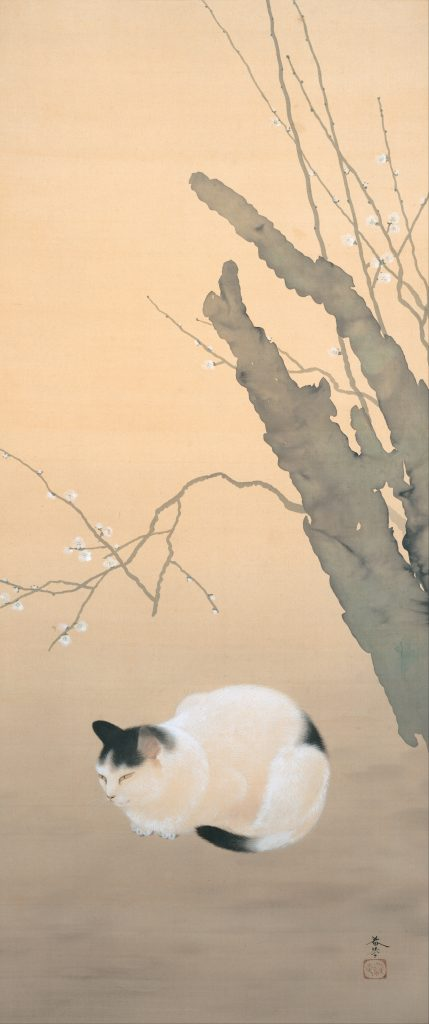 Hishida Shunso Cat and Plum Blossoms