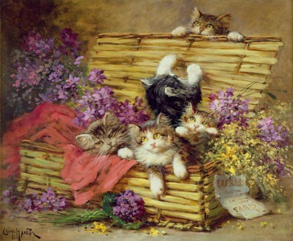 Kittens in a Basket, Leon Charles Huber