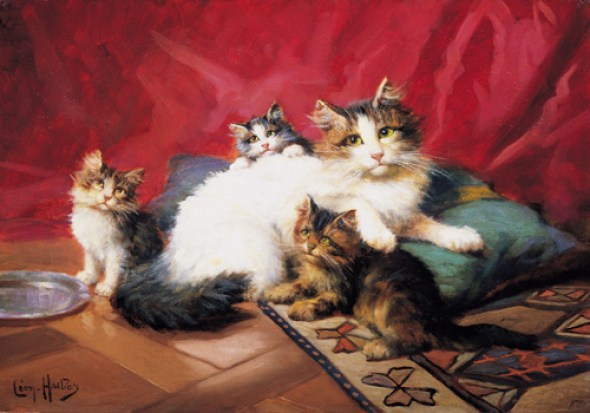 -A Cat and Kittens on a Cushion, Leon Charles Huber