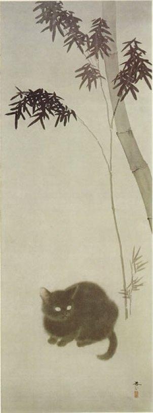 Cat under a Plum Tree, Hishida Shunsō