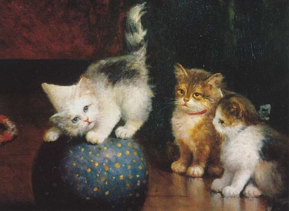Kittens Playing with a Ball, Leon Charles Huber