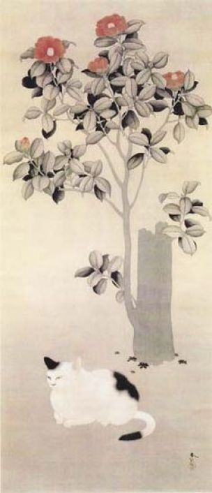 Camellias and Cat, Hishida Shunso