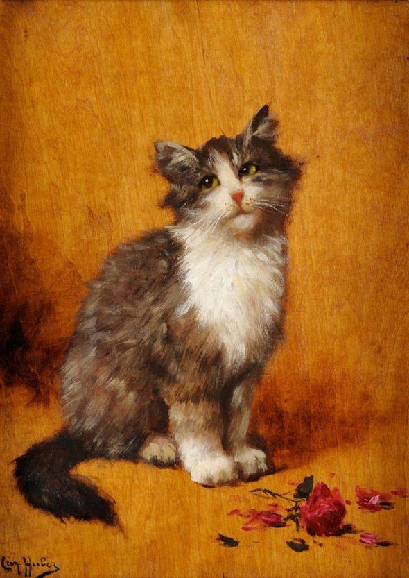 Posing Kitten, Leon Charles Huber