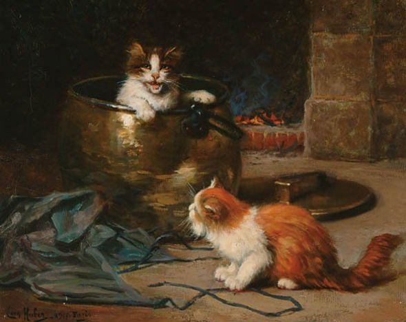 Kittens and a Brass Cauldron 1917 - French Leon Huber (1858-1928)