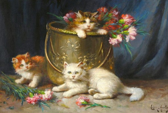 Three Kittens Playing, Leon Charles Huber