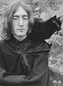 John Lennon and black cat, famous cat lovers