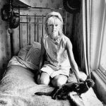 Julie Christie and cat, famous cat lovers
