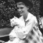 Mia Farrow and cat