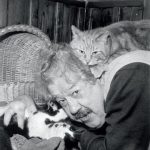 Michel Simon and cat, famous cat lovers