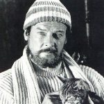 Roger Moore and cat, famous cat lovers