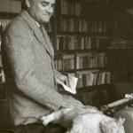 Alberto Moravia and cat