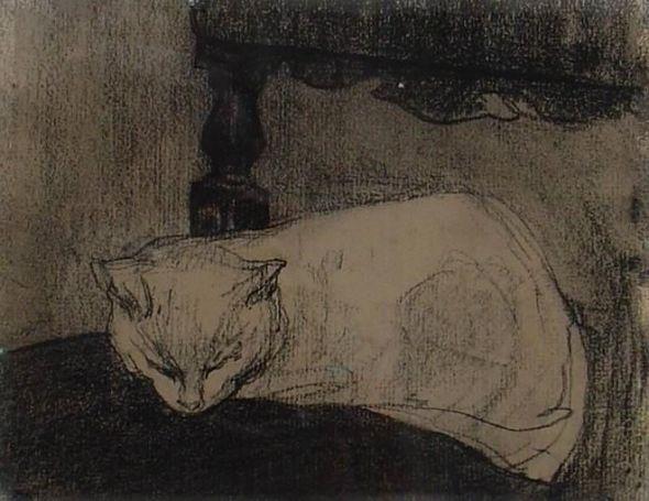 Jacobus (Jac) van Looy (Dutch, 1855-1930) Sleeping Cat, Jacobus van Looy