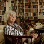 Jan Morris relaxes with her cat Ibsen