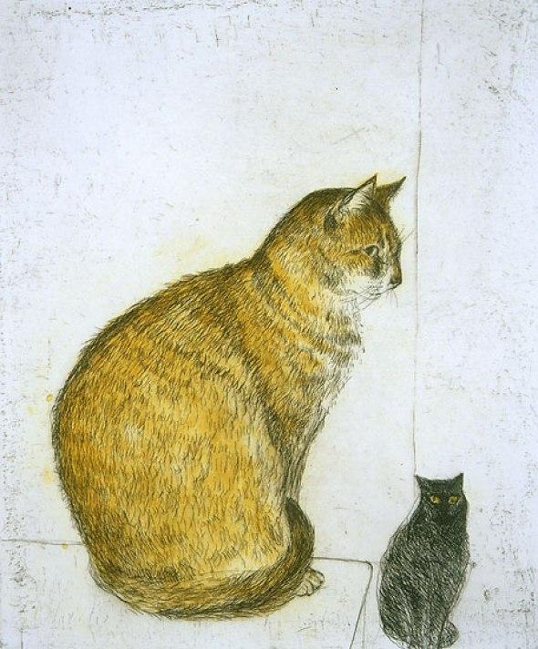 Elizabeth Blackadder, Mother Cat and Kitten, 1974
