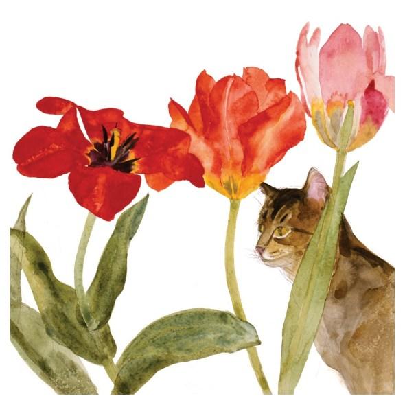 Elizabeth Blackadder, Cat amongst Tulips
