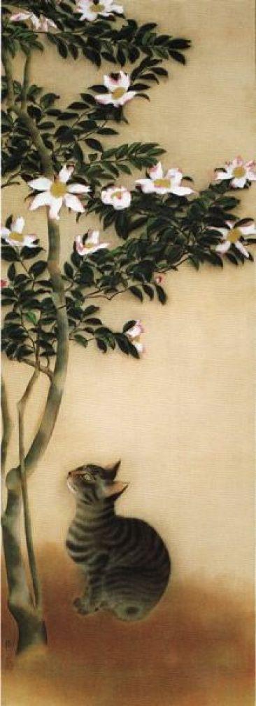 Cat in sasanqua (Christmas camellia) Hayami Gyoshu