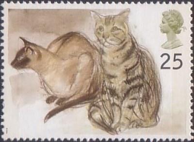 Stamp 1 Puskas (Siamese) and Tigger (tabby) British postage stamp 1995, Elizabeth Blackadder