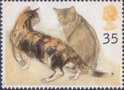 Stamp 2 Kikko (tortoiseshell) and Rosie (Abyssinian) British postage stamp 1995, Elizabeth Blackadder