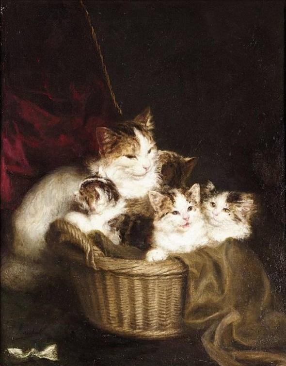 A Family of Cats, Louis Eugene Lambert
