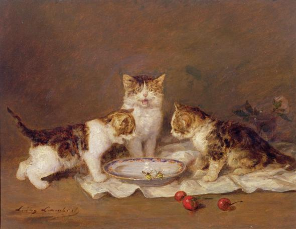 Kittens, Bees and Cherries, Louis Eugene Lambert