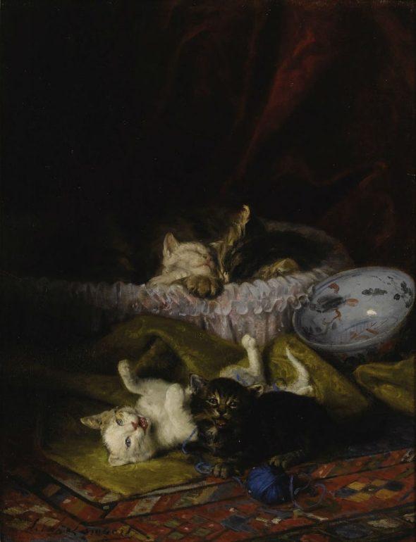Nap Time, Louis Eugene Lambert, cats in art