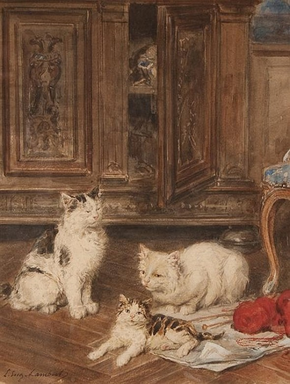 Louis Eugene Lambert French, 1825-1900 Three Cats in an Interior
