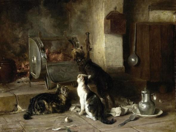 Waiting for Dinner, Louis Eugene Lambert, cats in art