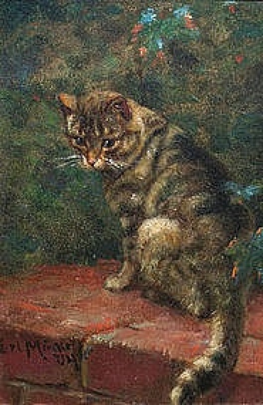 Carl Emil Mücke (German, 1847-1923) - Cat on a Brick Wall - Oil on board, 1904