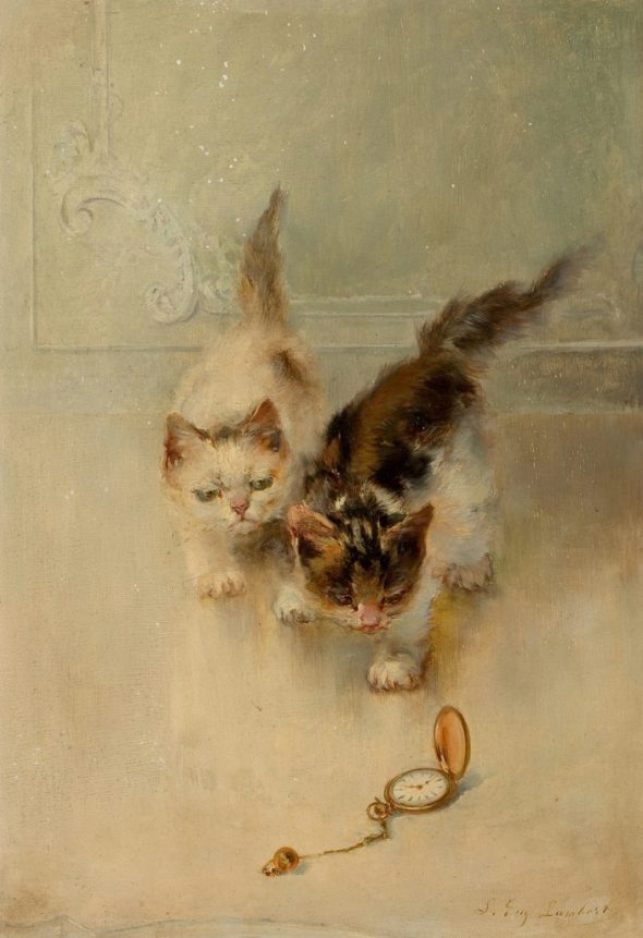 Louis Eugène Lambert (French, 1825-1900) Two cats and a watch