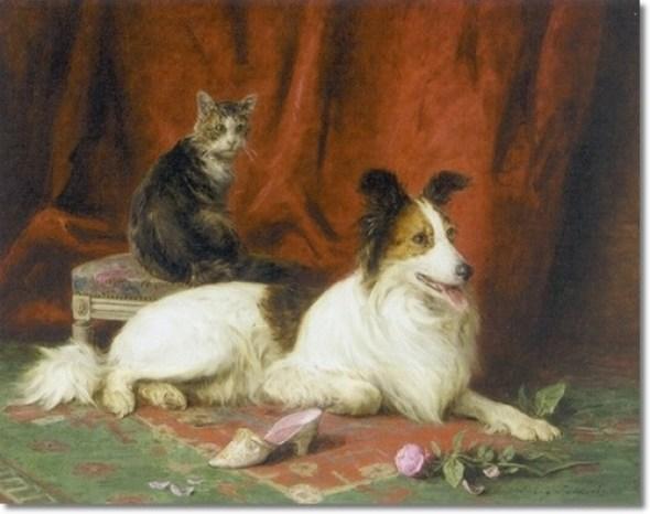The favorite Collie and Cat, Louis Eugene Lambert