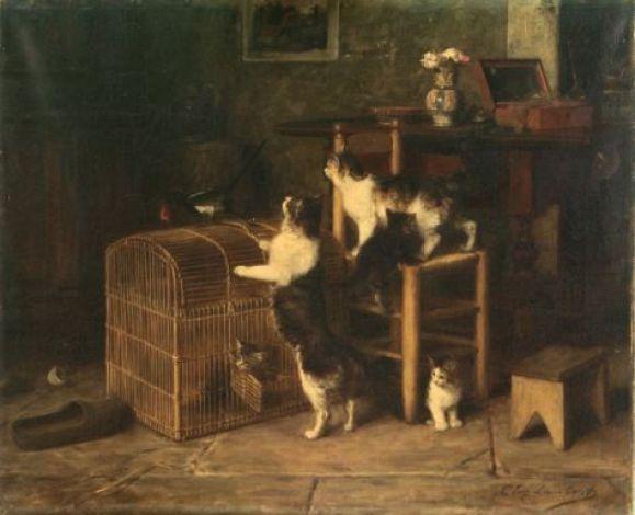 Invasion, Louis Eugene Lambert, cats in art