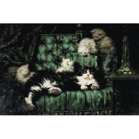 Carl Kahler, Cats on a Sofa