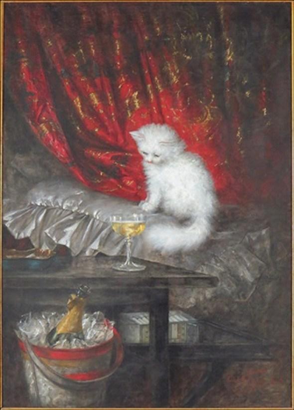 Carl Kahler, Die Weisse, The White Cat, cat art