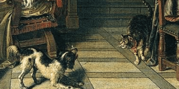 Cornelis de Man Interior of a Townhouse, Detail, cats in art